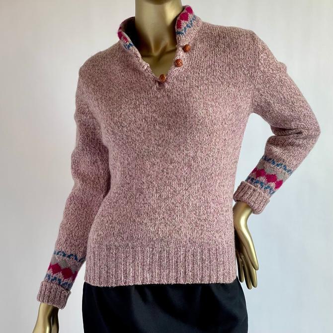 Vintage Ski Sweater Dusty Pink  XS- M by BeggarsBanquet