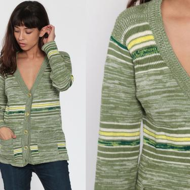 70s Boho Cardigan Green Space Dye Sweater Hippie 1970s Bohemian Cardigan Striped Sweater Button Up dyed Seventies Sweater Hippie Small by ShopExile