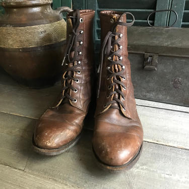 Justin Leather Ankle Boots, Lace Up Roper Boots, Size 9 D by JansVintageStuff
