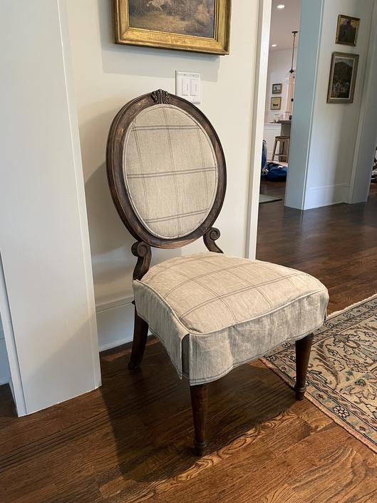 SET OF SIX OVAL BACK DINING CHAIRS WITH CUSTOM LINEN SLIPCOVERS