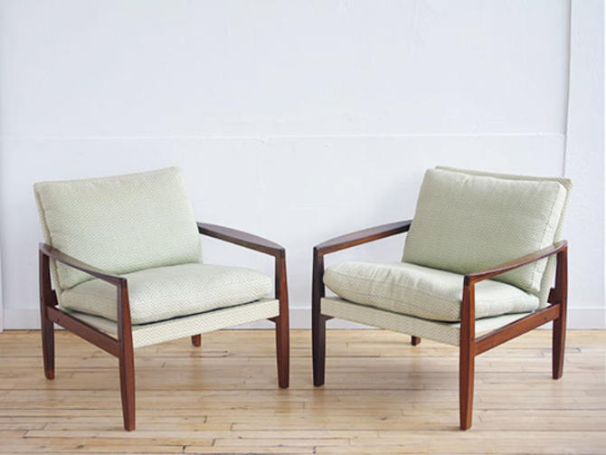 Pair Hans Olsen Rosewood Lounge Chairs