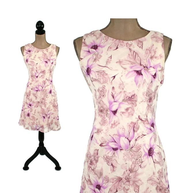 80s 90s Pastel Floral Chiffon Midi Dress Small, Summer Sleeveless A Line, Feminine Romantic Clothes Women, Vintage Clothing from La Belle by MagpieandOtis