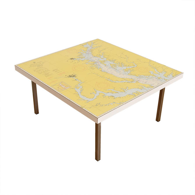 Vintage Custom Map Top Square Coffee Table w/ Chrome Legs