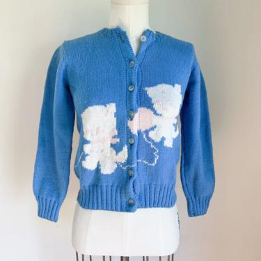 Vintage 1950s Blue & White Cat Cardigan / XS by MsTips