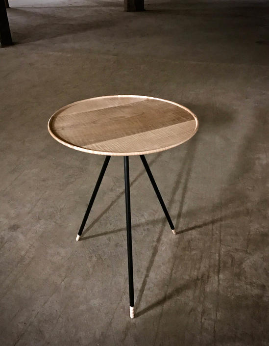 End Table, Modern Side Table with Turned Tiger Maple Top and Steel Legs, by PWHFurniture