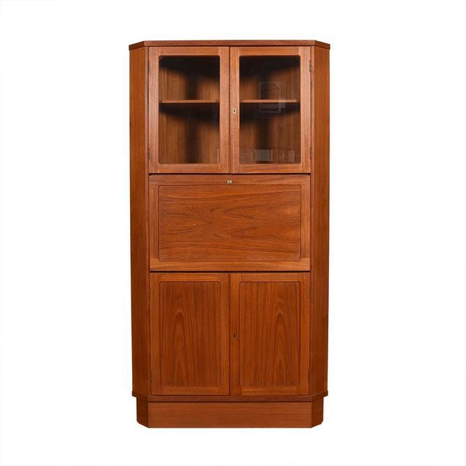 Danish Teak Corner Storage Cabinet / Bar