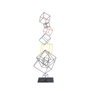 Multicolor Metal Floating Boxes Welded Sculpture by MarquisModern