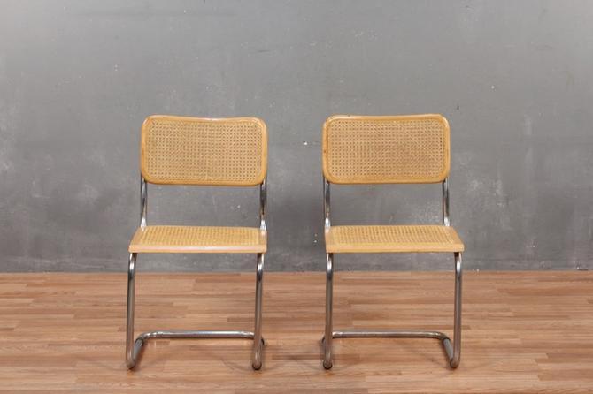 Cesca-Style Blonde Chrome & Cane Chair