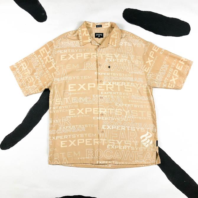 90s / y2k Southpole Allover Print Button Down Shirt / Large / Tan / Sand / Hip Hop / Streetwear / 00s / Rave / Cyber / Logo / Matrix / L by shoptrashdotnet