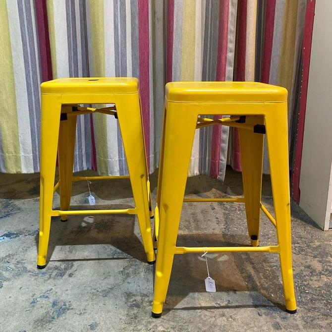 """Yellow metal stools. 4 available. 12"""" squared 24"""" tall"""