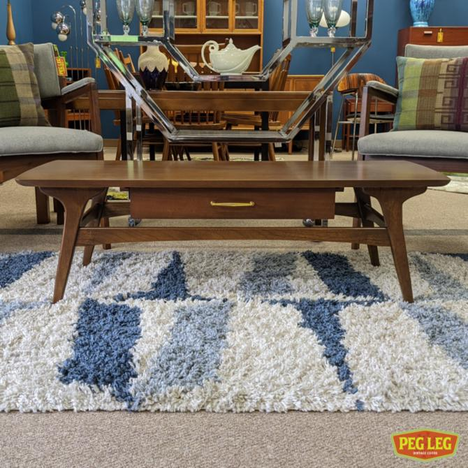 Mid-Century Modern walnut coffee table with drawer by Mersman