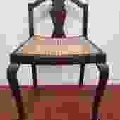 Item #V73 Mahogany & Wicker Vanity Seat c.1940