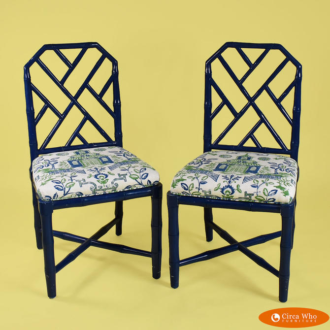 Pair of Faux Bamboo Blue Chairs