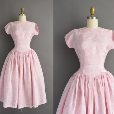 1950s vintage dress | Beautiful Pink Floral Print Short Sleeve Sweeping Full Skirt Cocktail Party Dress | XS | 50s dress by simplicityisbliss