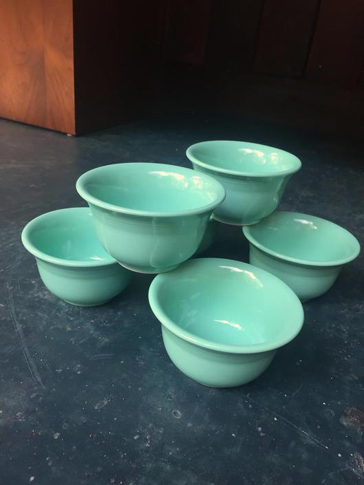 fiestaware Sea Mist Retired Custard Cups Fiesta Vintage Jade Green by BrainWashington