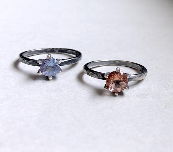 Six Prong Candy Gem Ring Tanzanite and Peach Topaz in Blackened Sterling Silver by RachelPfefferDesigns