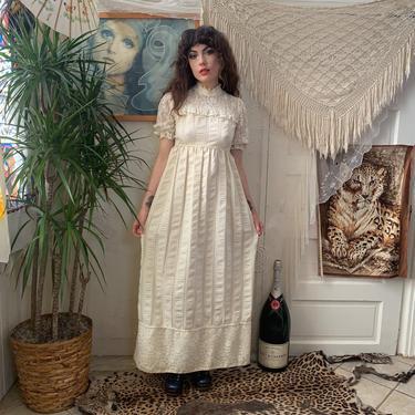 70's COTTON MAXI DRESS - lace - empire waist - cream - medium by GlamItToHell