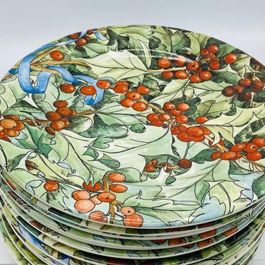 """Vintage set (13) of Gien France 8 3/4"""" Salad Plate Le Houx--Holly w/Berries by JoAnntiques"""