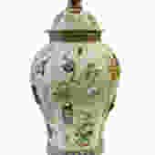 Chinese Light Green Dimensional Color Graphic Hexagon Porcelain Jar cs1485E by GoldenLotusAntiques