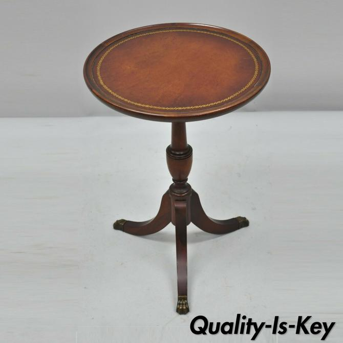 Mahogany Duncan Phyfe Side Table, Small Round Antique Side Table