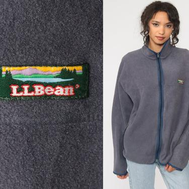 LL BEAN Fleece Jacket Grey Zip Up Jacket 90s Hiking Sweater Vintage Retro Athleisure Activewear Sports Vintage Extra Large xl l by ShopExile
