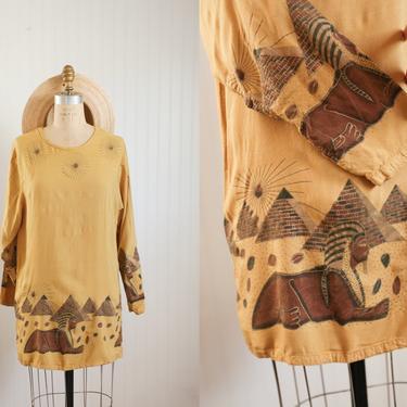 90s gold egypt illustration mini dress | anthony mark hankins | size med large by foganddriftwood