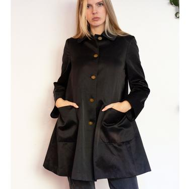 Vintage VIVIENNE WESTWOOD 90s Black Satin Swing Coat with Orb Buttons Princess Jacket Minimal Corset by backroomclothing