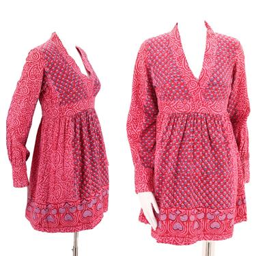 60s India cotton print mini dress 6-8  / vintage early 1960s peasant sleeve pink Sixties baby doll dolly mini S by ritualvintage