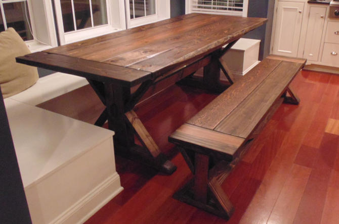 Kent dining table trestle x farmhouse reclaimed wood for Solid wood farmhouse table