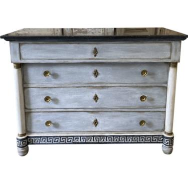 French Empire Painted Marble Top Commode With Greek Key Motif - 19th C