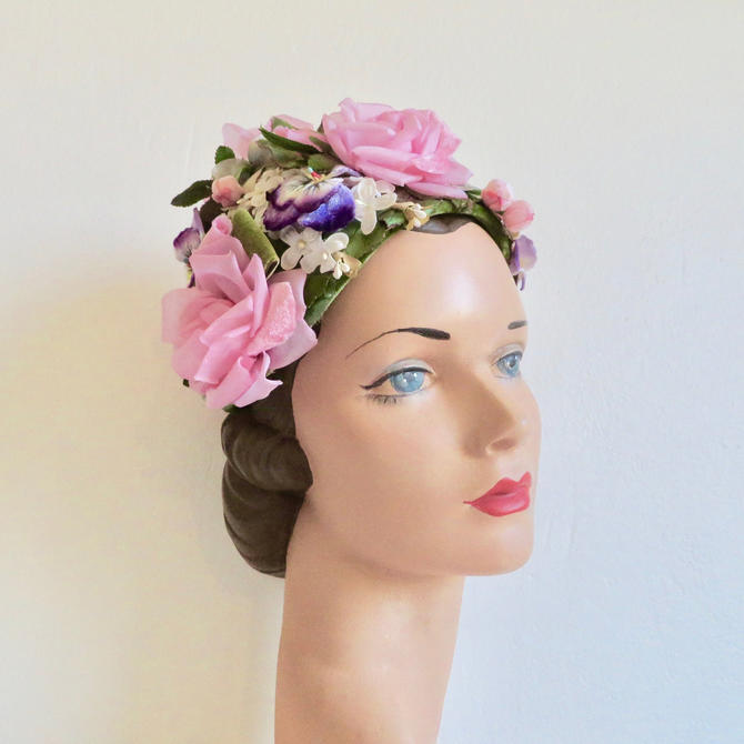 Vintage 1950's Silk and Velvet Roses Pansies Flower Hat Fascinator Pink Green High Crown Spring Garden Party Bridal Wedding 50's Millinery by seekcollect