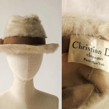 Vintage 60s Christian Dior Chapeaux Rabbit Fur & Wool Felt Floppy Bill Hat | MOD, Go Go, Space Age | 1960s DIOR Designer Wide Brim Fur Hat by TheVault1969