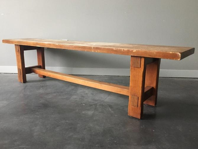 distressed wood craftsman style bench