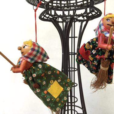 Vintage Kitchen Witch Ornament, Wood German? Hanging Kitchen Witch, Your Choice Black Floral Or Green Floral by luckduck