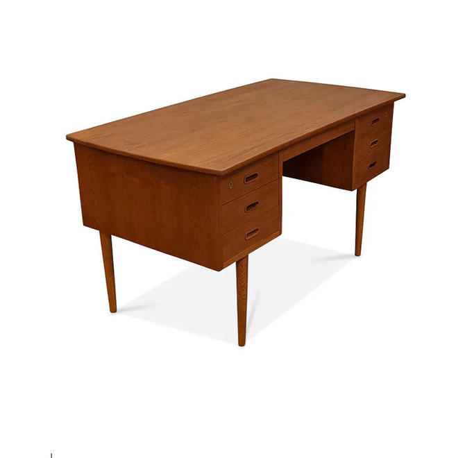 Vintage Danish Mid Century Teak Desk - Buede by LanobaDesign