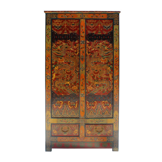 Chinese Tibetan Dragon Flower Graphic Tall Armories Wardrobe Cabinet cs5797E by GoldenLotusAntiques