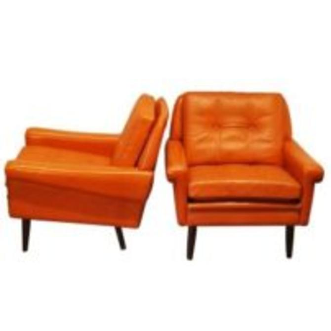14307 Svend Skipper Mid Century Modern Pair of Full Grain Leather Armchairs, circa 1960 SOLD