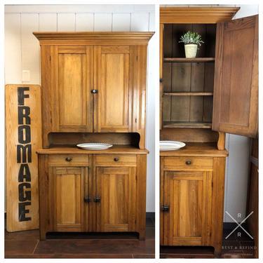 Antique Pine Stepback Cabinet 2-Piece Hutch by RustandRefind