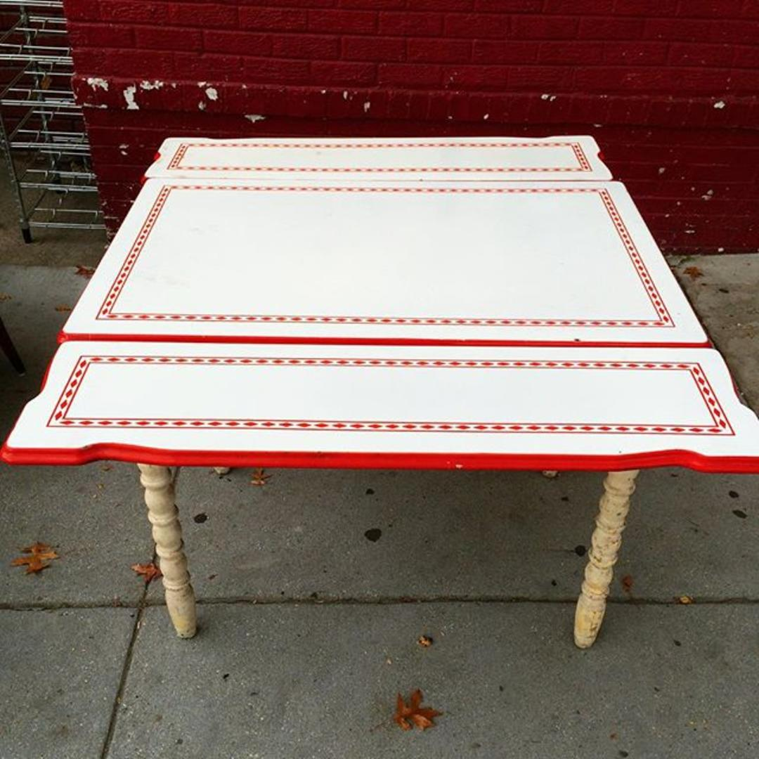 Sold Refectory Kitchen Dining Table With Enameled Metal