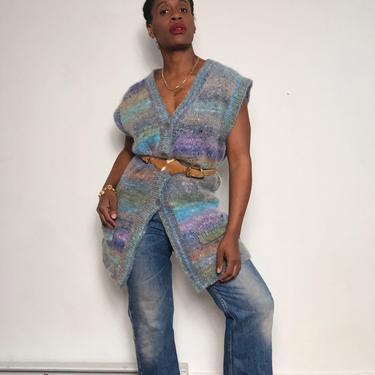 Vintage 1970s 1980s 70s Mohair Sweater Cardigan Vest Pockets Sleeveless Jumper Rainbow Tie Dye Duster Oversized Medium Large by KeepersVintage