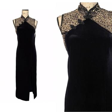 Vintage lace and velvet black cheongsam size small to medium by honeycombvintage