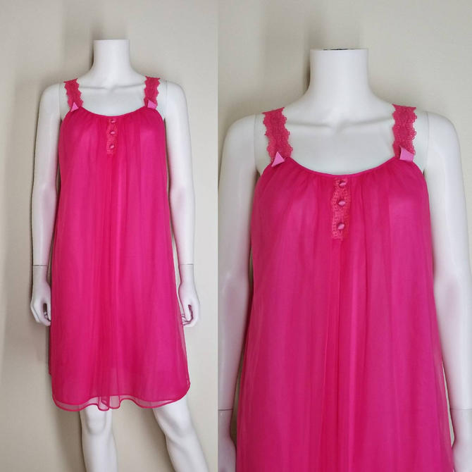 Vintage Electric Pink Nightgown, Medium / Hot Pink Babydoll Nightgown / Chiffon Overlayer Nylon Nightgown / Vintage 60s Pinup Lingerie by SoughtClothier
