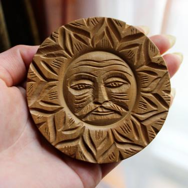 Carved Wooden Sun Man Brooch, Made in India, Mustache by Ferngodvintage