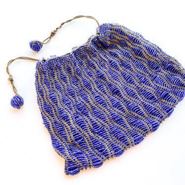 1900s Blue Beaded Evening Bag   Royal Blue Glass Bead Purse by GlennasVintageShop