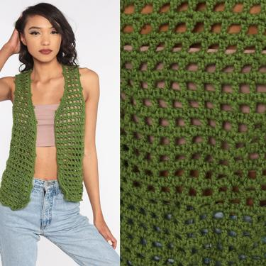 Crochet Vest Olive Green Knit Top 70s Hippie Boho Vest Open Weave Sheer 1970s Vintage Bohemian Sleeveless Sweater Small by ShopExile