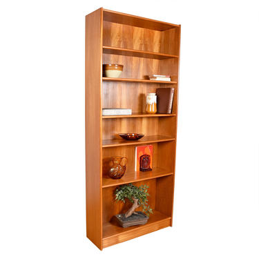 Danish Teak Extra Tall Adjustable Shelf Bookcases — A Pair