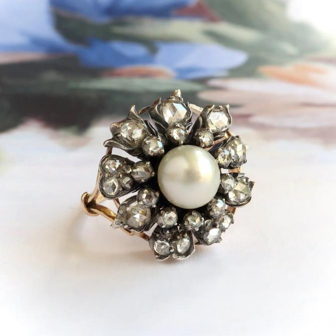 Antique Victorian Pearl And Diamond Ring 14K Silver by YourJewelryFinder