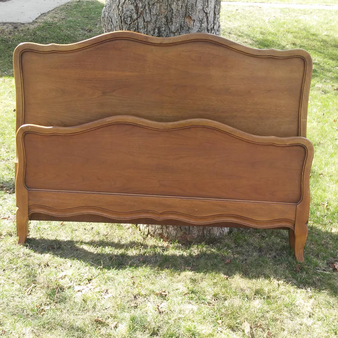 ON SALE Vintage French Country Headboard and Foot-board/ Country Chic, Shabby Chic Solid Wood with matching wood side rails included by 3GirlsAntiques