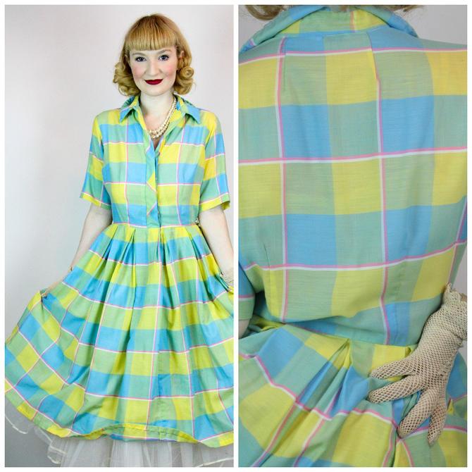 39b8c9fb21a Vintage 1950s Cotton Shirt Dress Gingham Rockabilly Bubble Skirt ...