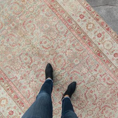 """Antique 5'10"""" x 13'1"""" Large Rug Allover Floral and Abstract Designs Red Sage Hand-Knotted Wool Low Pile Rug 1920s - FREE DOMESTIC SHIPPING by HouseofSeance"""